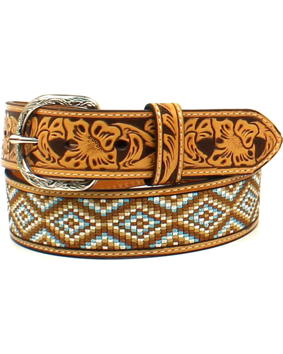 Nocona Men's Leather Diamond Fabric Belt , Tan, hi-res