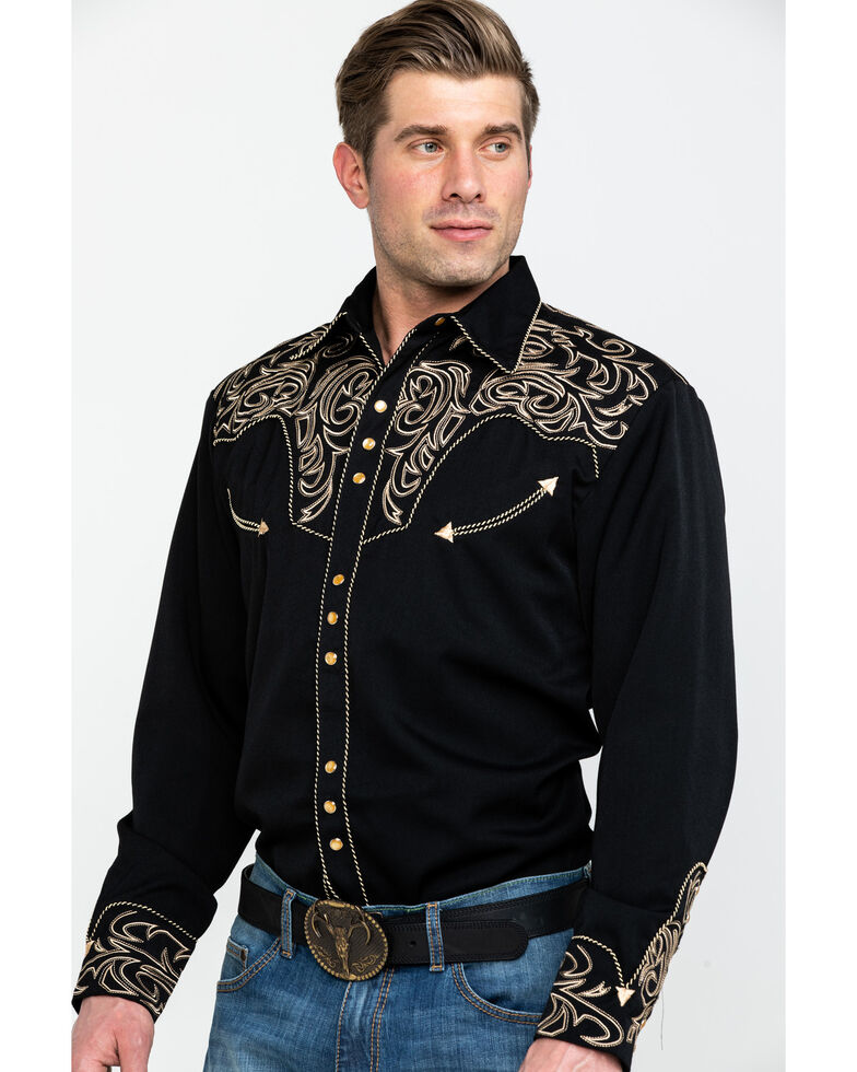 Scully Embroidered Scroll Western Shirt, Black, hi-res