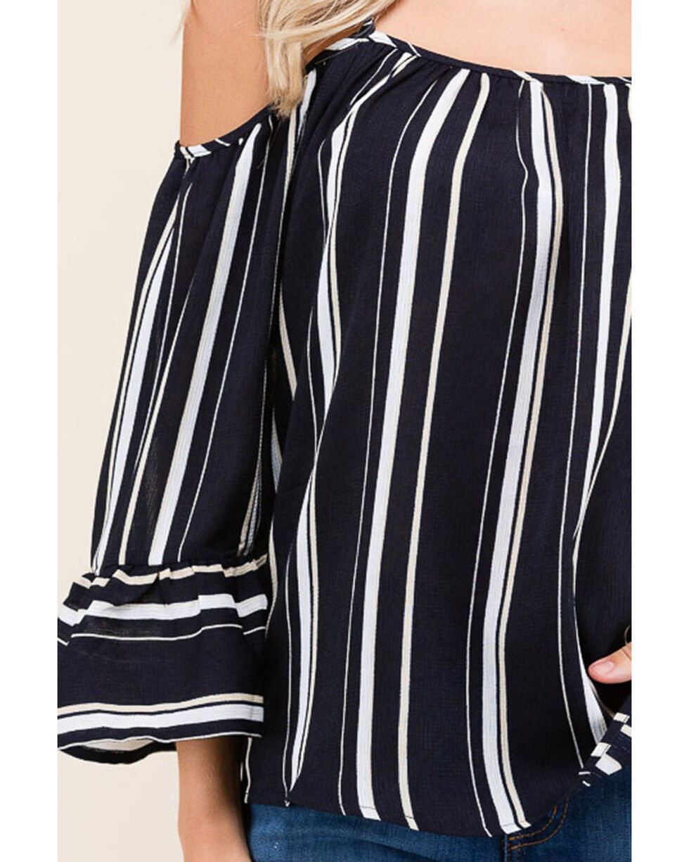 Polagram Women's Navy Striped Cold Shoulder Long Sleeve Top , Navy, hi-res