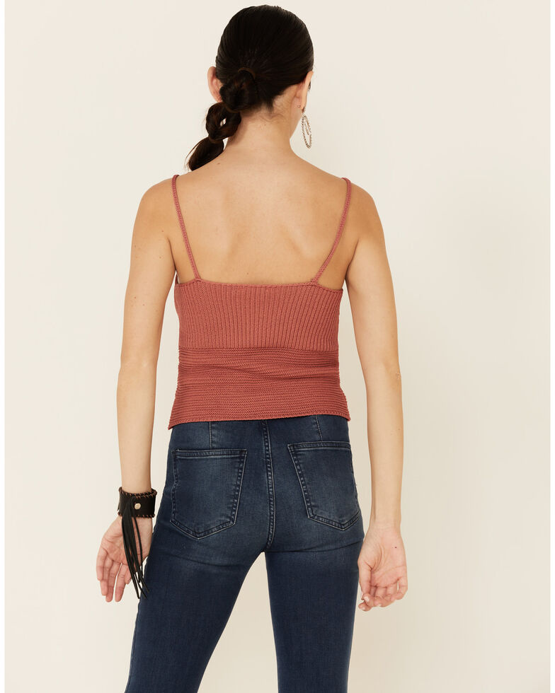 Mystree Women's Coral Sweater-Knit Lace-Up Cami , Coral, hi-res
