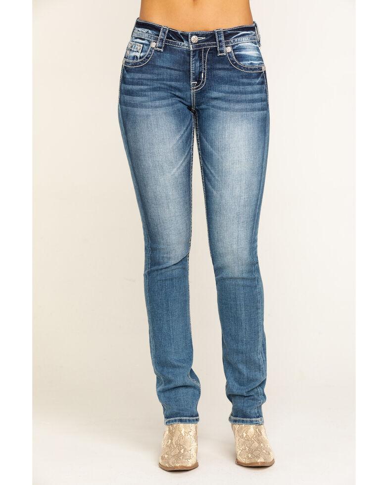 Miss Me Women's Medium Wash Horseshoe Straight Jeans , Blue, hi-res