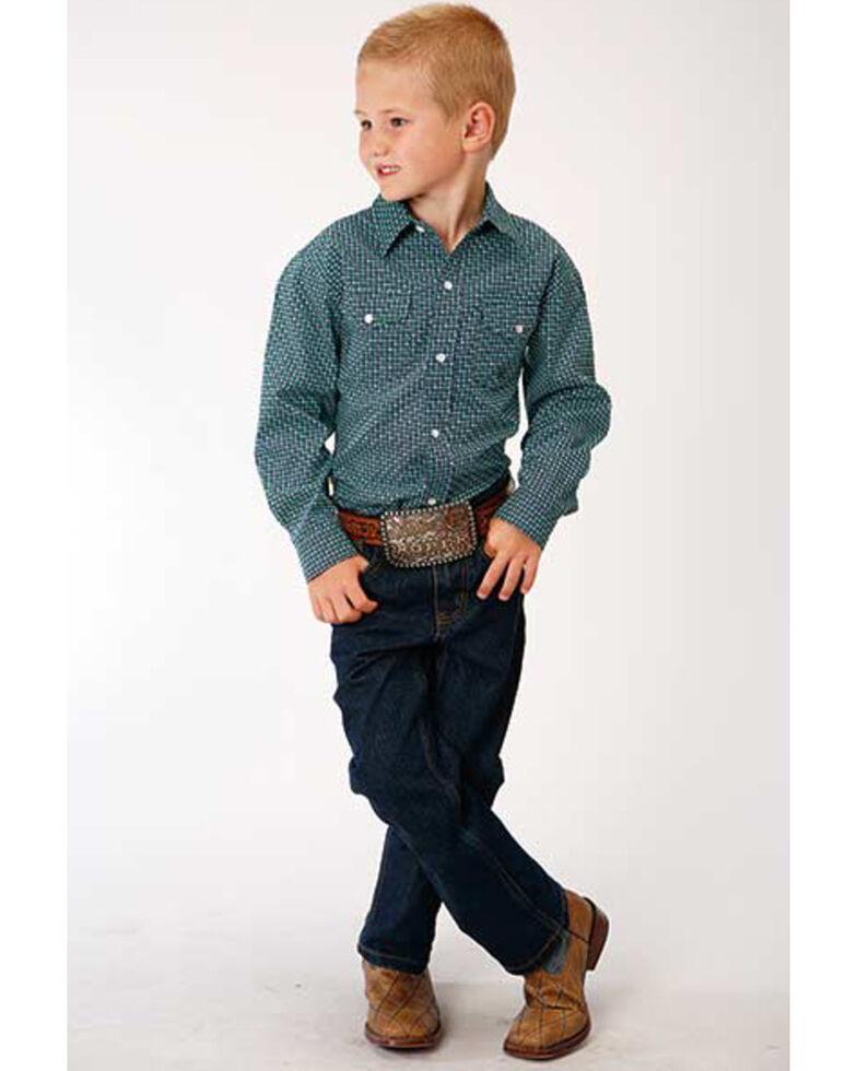 Amarillo Boys' Blue Ridge Geo Print Long Sleeve Western Shirt , Green, hi-res