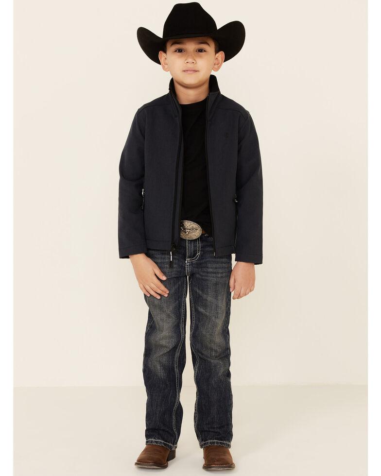 Roper Boys' Textured Blue Hi Tech Fleece Zip-Front Softshell Jacket , Blue, hi-res