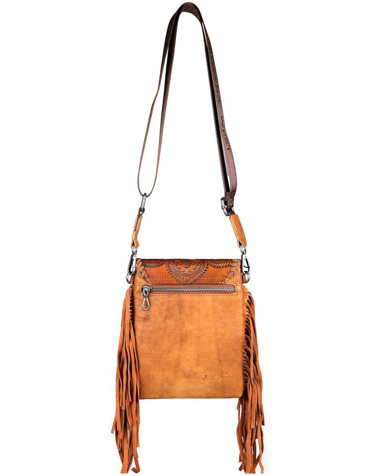 Montana West Women's Dakota Tooled Mandala Crossbody Bag, Brown, hi-res