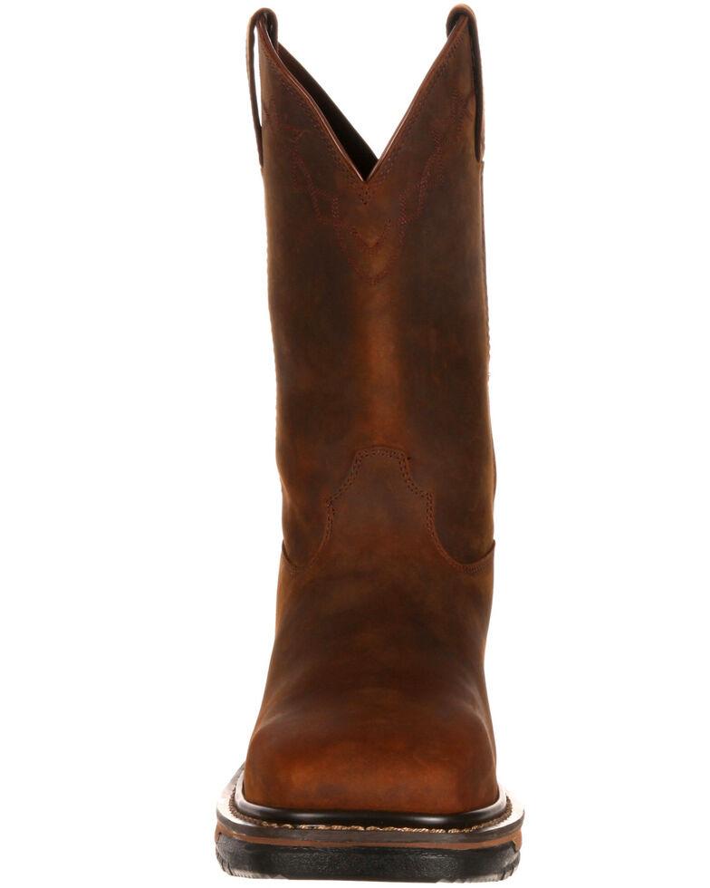 Rocky Men's Original Ride Western Work Boots - Square Toe, Dark Brown, hi-res