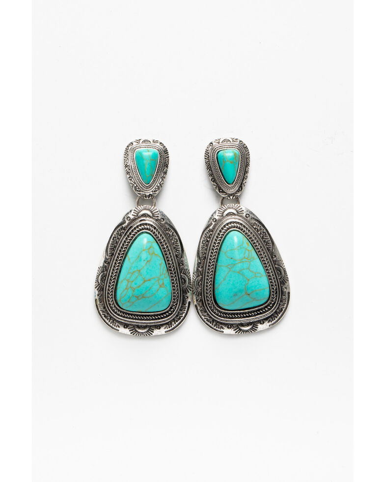 Shyanne Women's Blue Falls Large Turquoise Concho Statement Earrings, Silver, hi-res