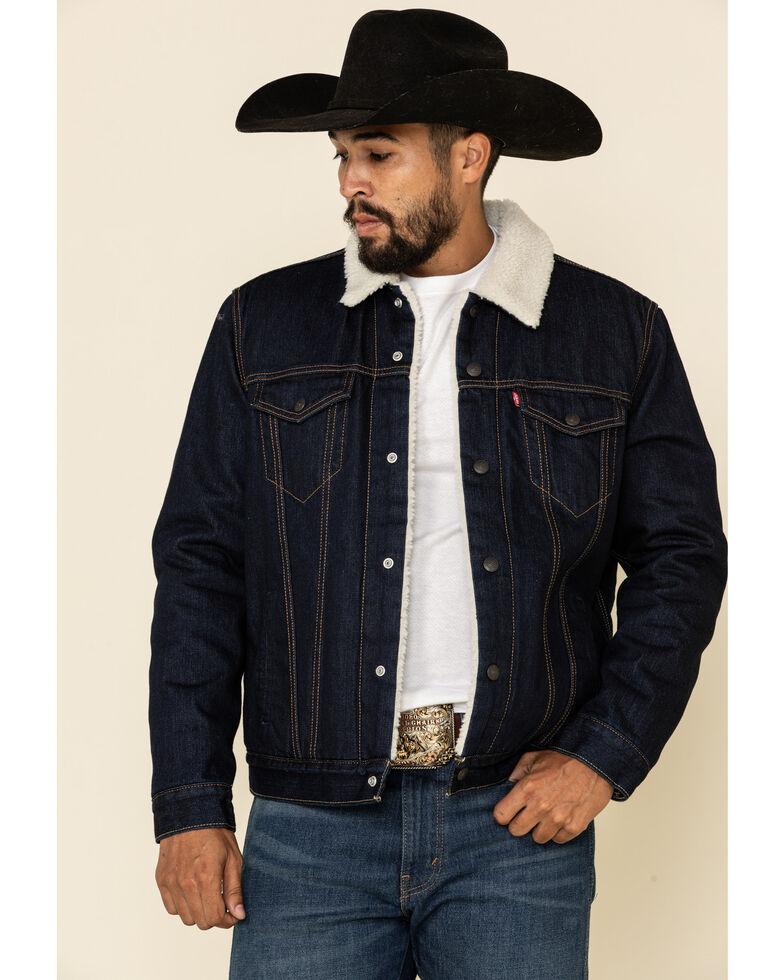 Levi's Men's Juniper Sherpa Lined Trucker Denim Jacket , Dark Blue, hi-res