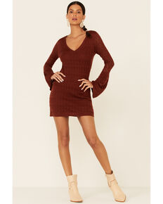 Shyanne Women's Chocolate Lace Bell Sleeve Dress , Chocolate, hi-res