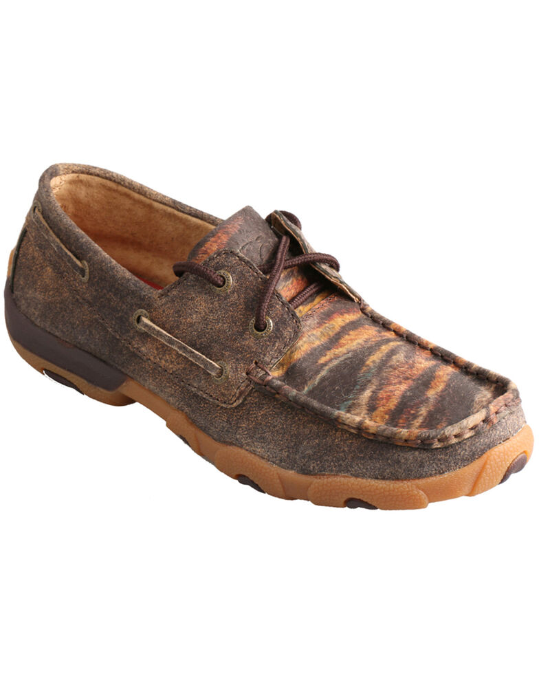Twisted X Women's Leather Distressed Tiger Driving Mocs, Distressed, hi-res