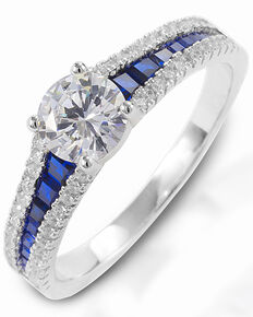 Kelly Herd Women's Blue Spinel Engagement Ring , Silver, hi-res