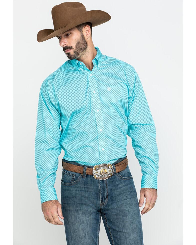 Ariat Men's Wrinkle Free Pasadena Geo Print Long Sleeve Western Shirt , Turquoise, hi-res