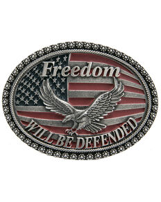 Cody James Men's Freedom Will Be Defended Buckle, Silver, hi-res