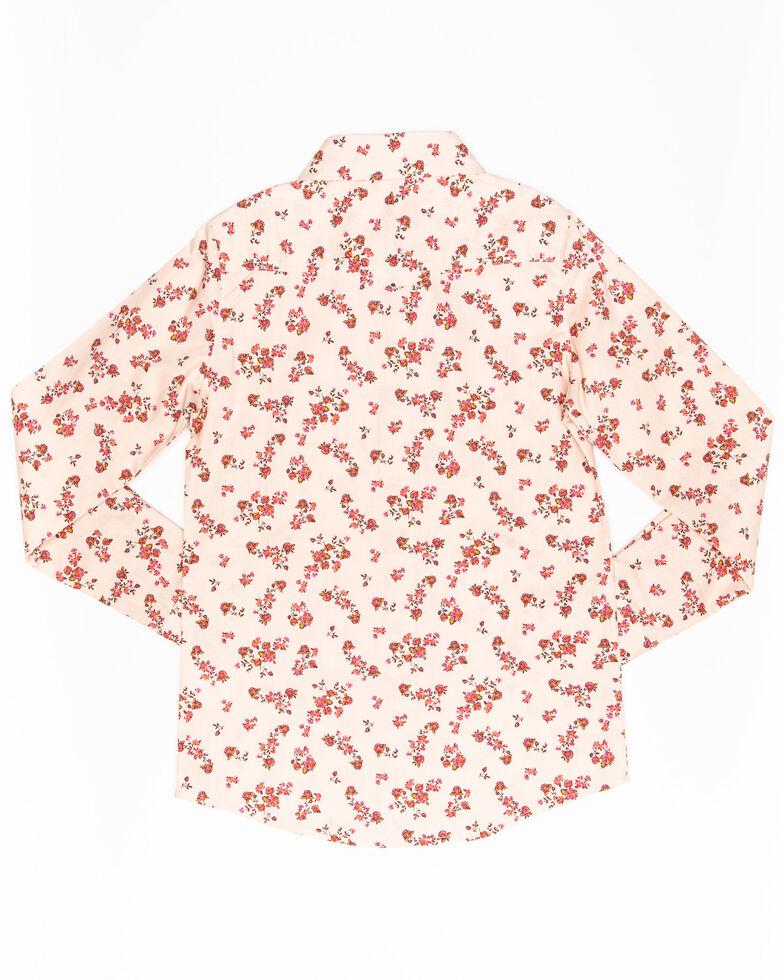 Shyanne Girls' Floral Print Long Sleeve Western Shirt, Pink, hi-res