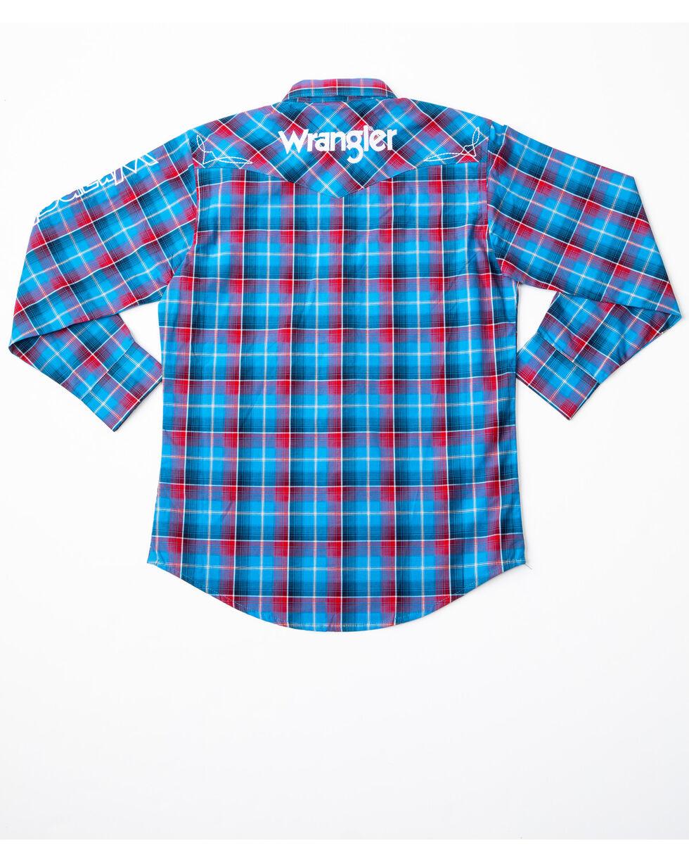 Wrangler Boys' Logo Long Sleeve Western Shirt, Blue/red, hi-res