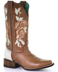 Corral Women's Honey Floral Western Boots - Square Toe, Tan, hi-res