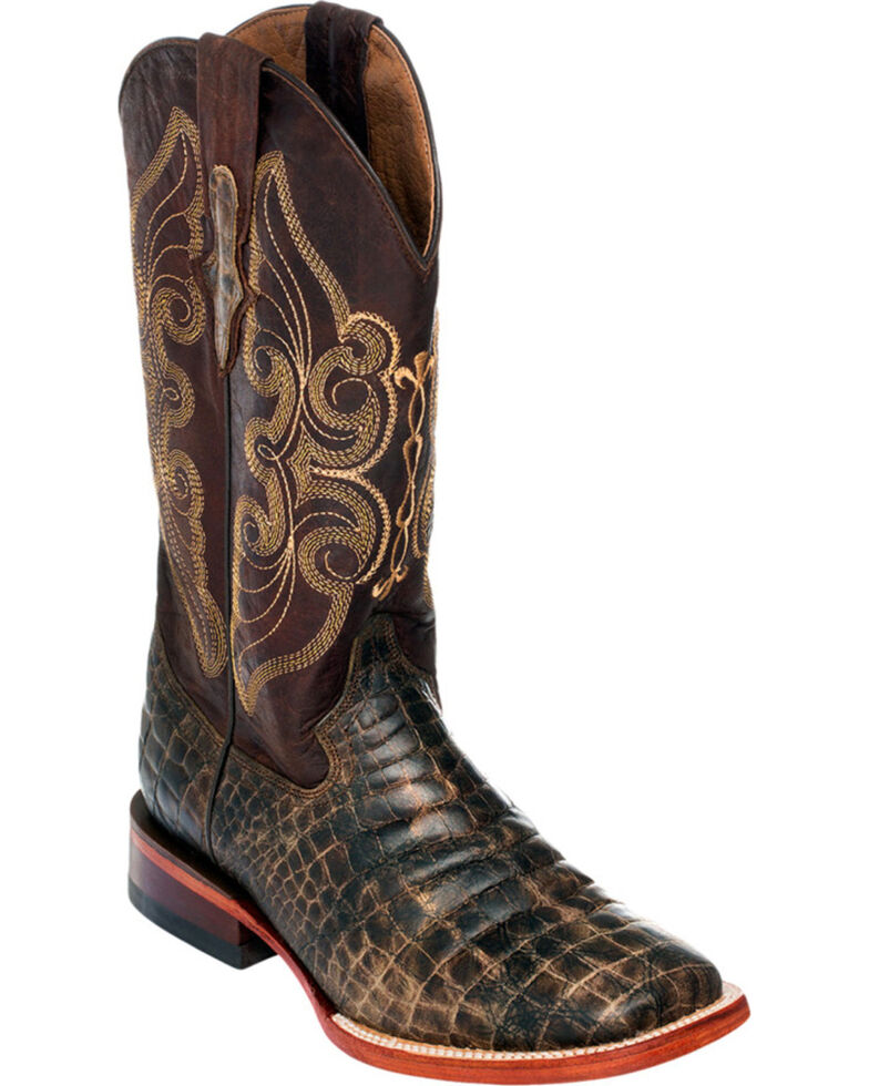 Ferrini Women's Chocolate Belly Print Cowgirl Boots - Square Toe, Chocolate, hi-res