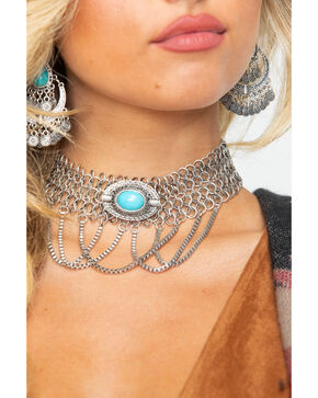 Shyanne Women's Chunky Chain Turquoise Stone Choker Necklace , Silver, hi-res