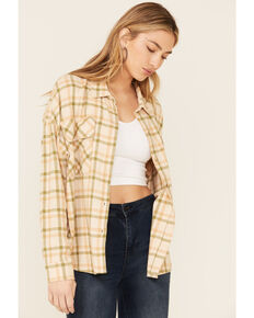 By Together Women's Light Brown Plaid Long Sleeve Button-Down Western Flannel Shirt , Brown, hi-res