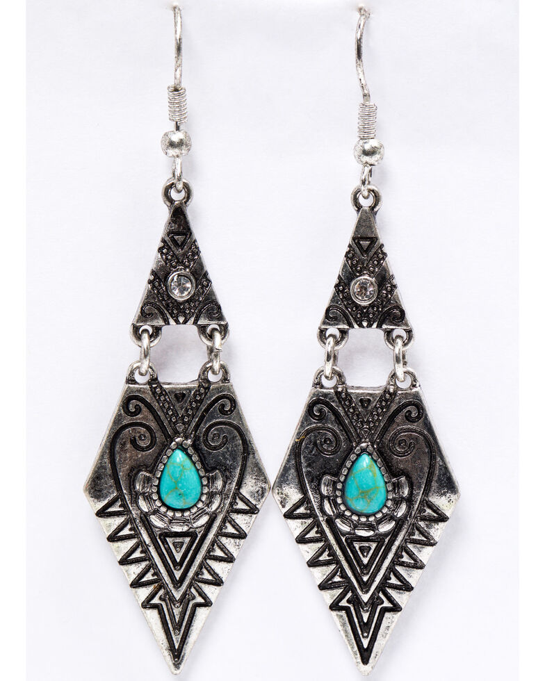 Shyanne Women's Emma Rae Diamond Aztec Turquoise Stone Earrings, Silver, hi-res