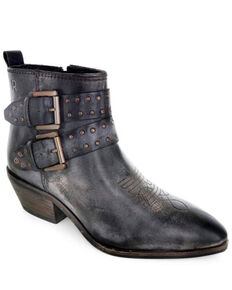 Roan by Bed Stu Women's Black Ville Buckle Western Booties - Pointed Toe, Black, hi-res