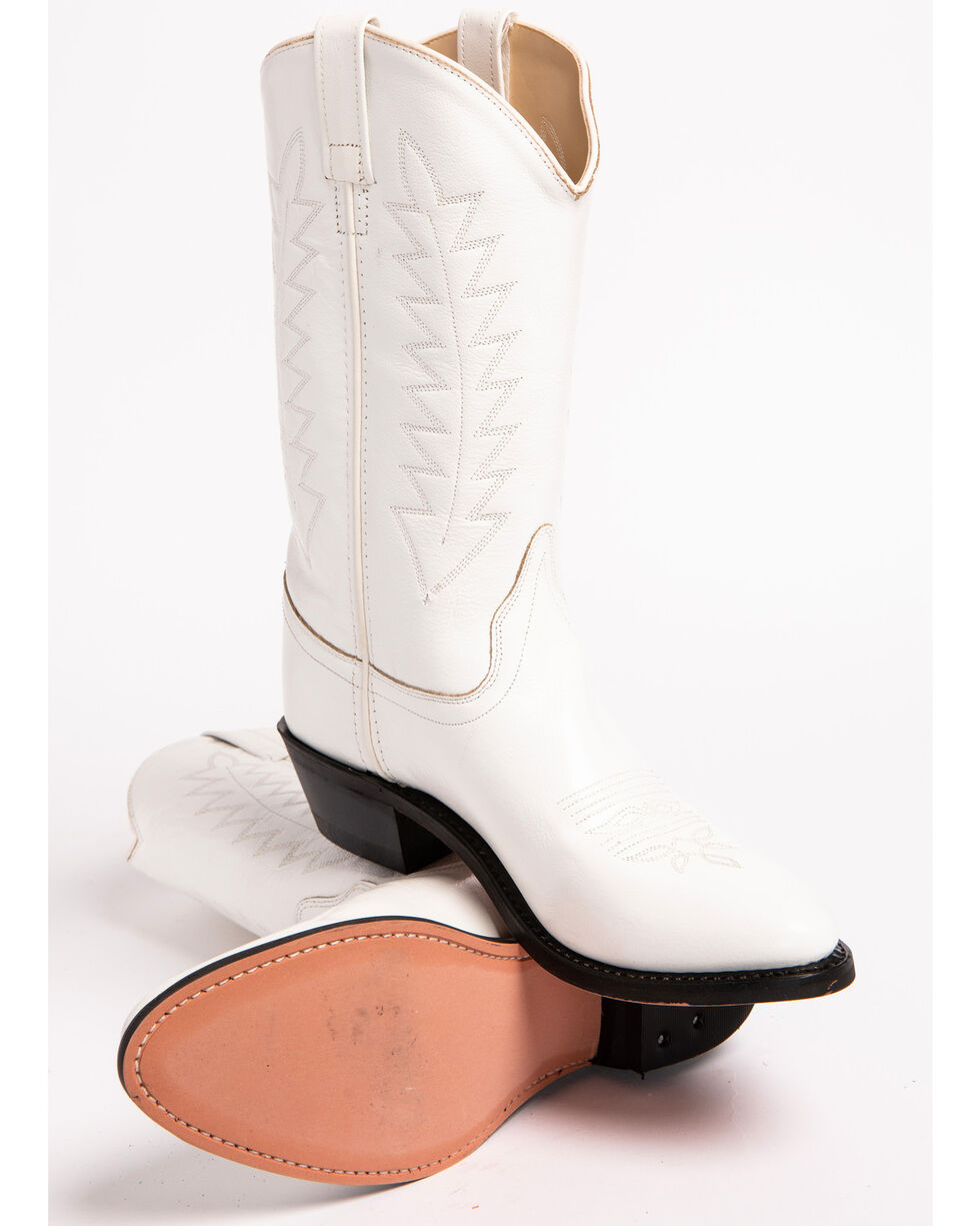 Old West Corona Cowgirl Boots - Medium Toe, White, hi-res