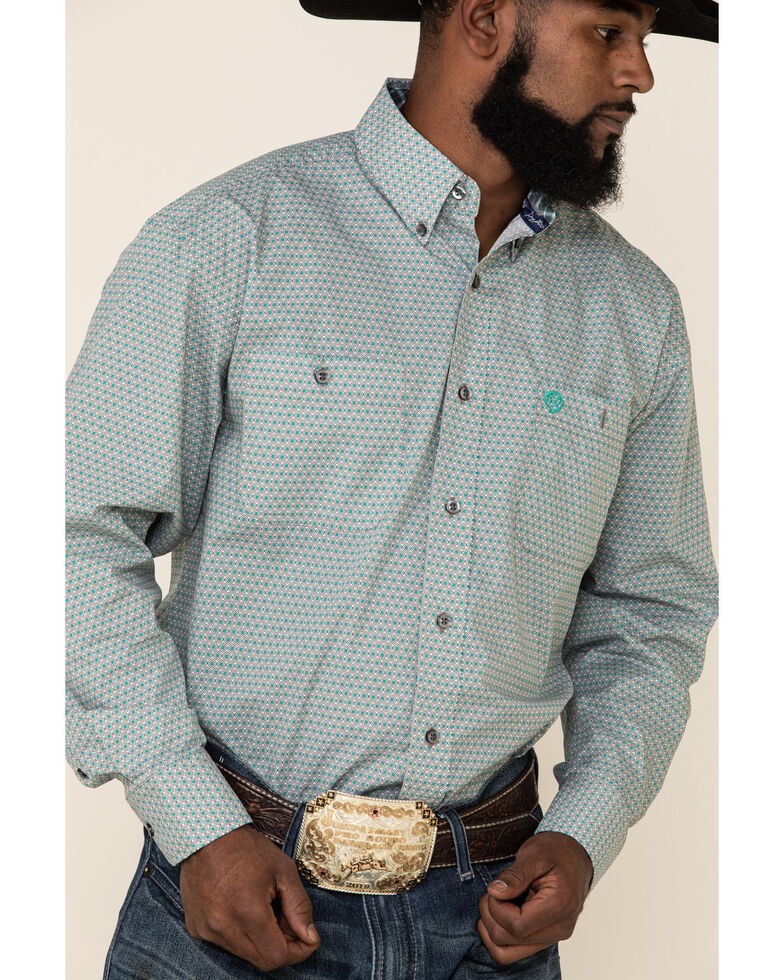 George Strait By Wrangler Men's Turquoise Geo Print Long Sleeve Western Shirt, Turquoise, hi-res