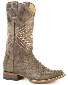 Roper Women's Brown Eroica Python Skin Boots - Snip Toe, Brown, hi-res