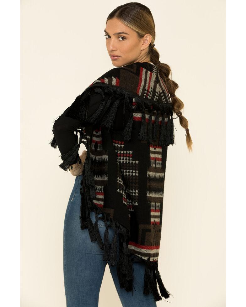 Cripple Creek Women's Chocolate Navajo Fringe Blanket Vest , Chocolate, hi-res
