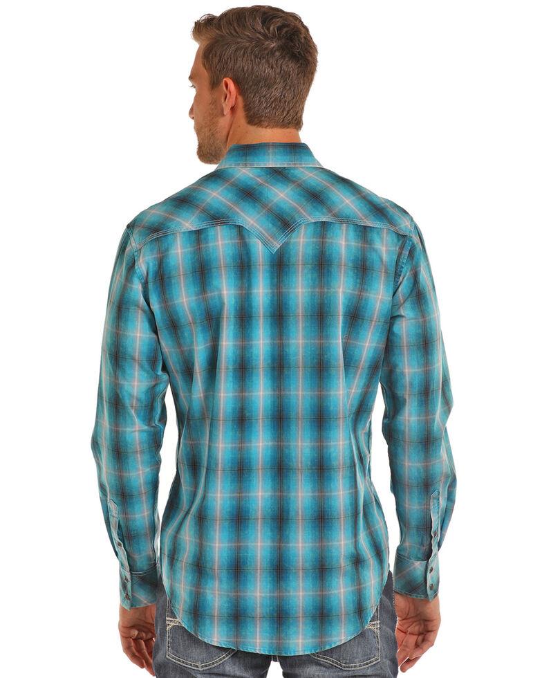 Rock & Roll Cowboy Men's Turquoise Ombre Plaid Shirt , Teal, hi-res