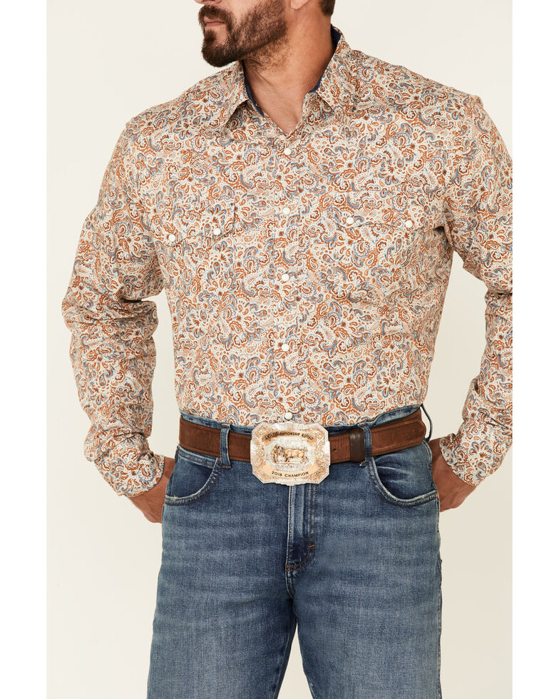 Roper Men's Brown Large Paisley Print Long Sleeve Snap Western Shirt , Brown, hi-res