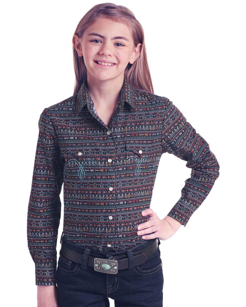 White Label by Panhandle Girls' Multi Print Long Sleeve Western Shirt , Multi, hi-res
