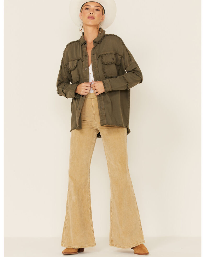 Elan Women's All You Need Is Love Shacket Jacket , Olive, hi-res
