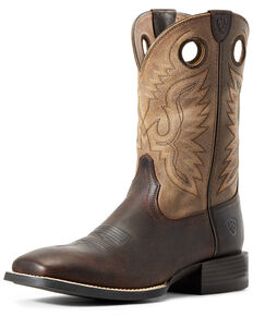 Ariat Men's Sport Ranger Barley Western Boots - Wide Square Toe, Brown, hi-res
