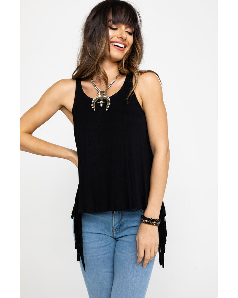 Shyanne Women's Netted Back Fringe Sleeveless Tank , Black, hi-res