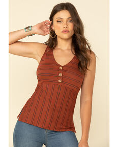 Shyanne Women's Stripe Button Front Tank Top, Rust Copper, hi-res