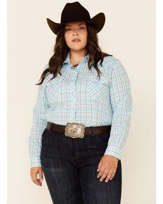 Roper Women's Turquoise Plaid Long Sleeve Snap Western Core Shirt - Plus , Turquoise, hi-res
