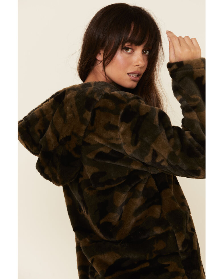Katydid Women's Green Camo Plush 1/2 Zip Hooded Pullover, Camouflage, hi-res