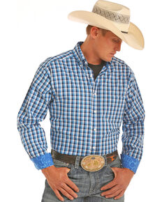 Tuf Cooper Men's Herringbone Plaid Competition Fit Stretch Long Sleeve Western Shirt, Blue, hi-res