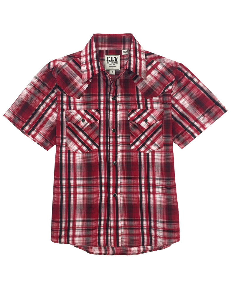 Ely Cattleman Boys' Red Plaid Short Sleeve Western Shirt , Red, hi-res