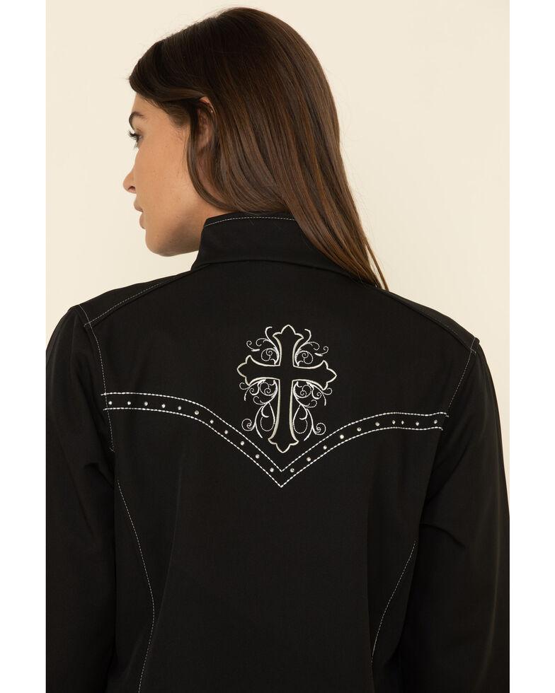 Cowgirl Hardware Women's Black Vine Cross Softshell Jacket , Black, hi-res