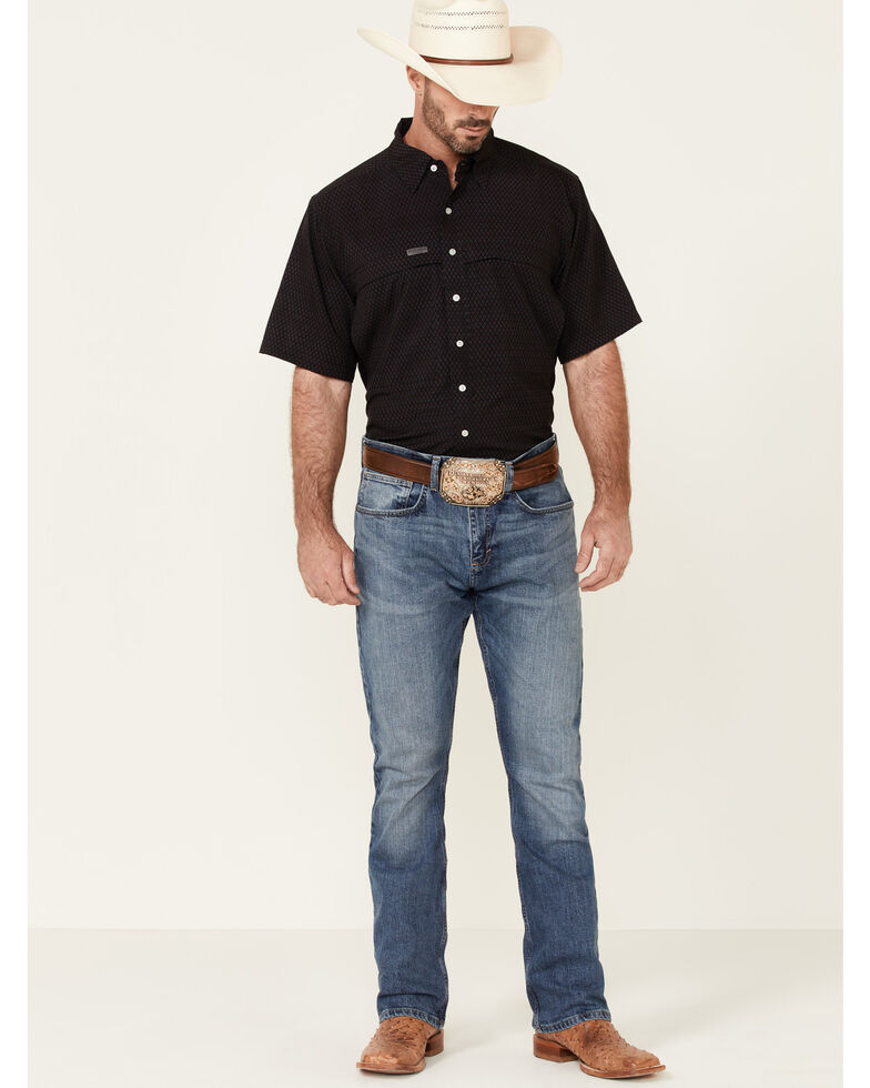 Panhandle Men's Red Performance Geo Print Short Sleeve Button-Down Western Shirt , Red, hi-res