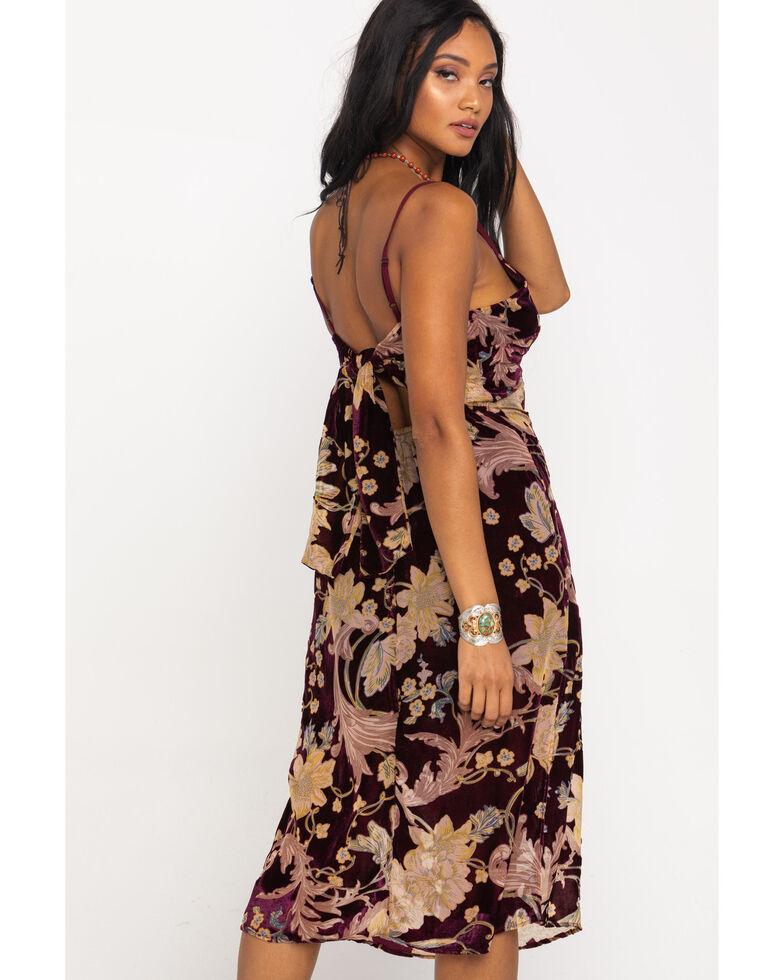 Band of Gypsies Women's Burgundy Burnout Floral Dress, Multi, hi-res