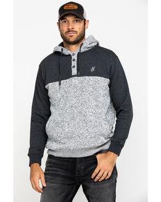 HOOey Men's Charcoal Jimmy Color Blocked Hooded Sweatshirt , Grey, hi-res