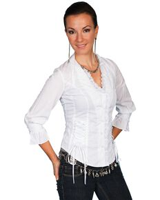 Scully Lace Up Back 3/4 Length Top, White, hi-res