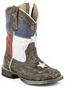 Roper Toddler Boys' Texas Flag Inside Zip Cowboy Boots - Square Toe, Dark Brown, hi-res