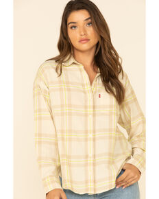 Levi's Women's Yellow Tonal Plaid Relaxed Long Sleeve Western Flannel Shirt , Yellow, hi-res