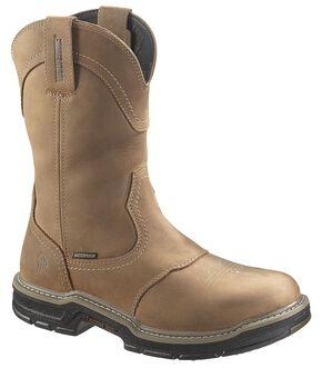 Wolverine Anthem Waterproof Pull-On Work Boots - Round Toe, Brown, hi-res