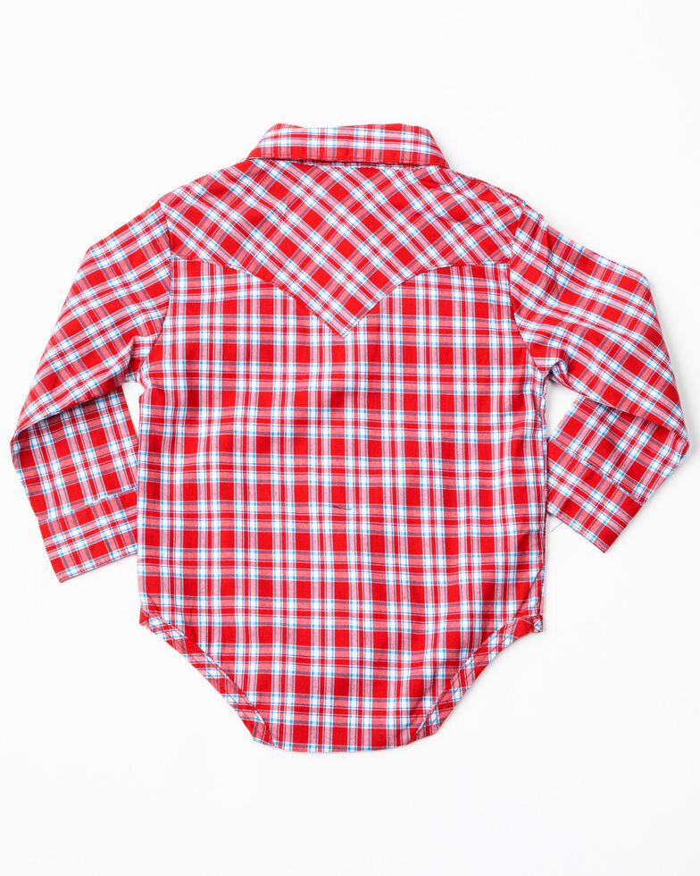 Wrangler Infant Boys' Red Plaid Long Sleeve Western Onesie, Red, hi-res