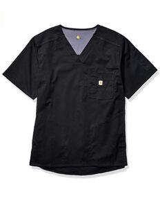 Carhartt Men's 2XL Solid Black Ripstop Scrub Utility Short Sleeve Work Shirt , Black, hi-res