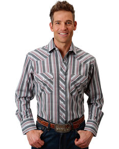 Roper Men's Grey/Red/White Plaid Long Sleeve Snap Shirt, Grey, hi-res